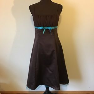 Brown and Teal formal dress
